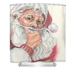 Santa Checking Twice Christmas Image Shower Curtain