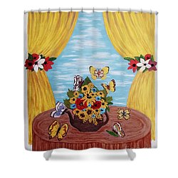 Shower Curtain featuring the painting Cheerful Butterflies by Jasna Gopic