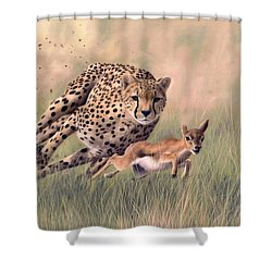 Cheetah And Gazelle Painting Shower Curtain