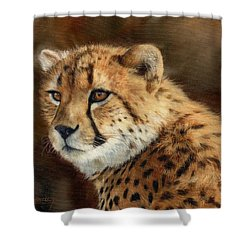 Cheetah Shower Curtain by David Stribbling