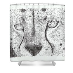 Cheetah Face Shower Curtain by Todd Hodgins
