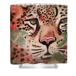 Cheetah In The Grass Shower Curtain by Renee Michelle Wenker