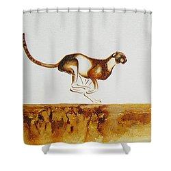 Cheetah Race - Original Artwork Shower Curtain