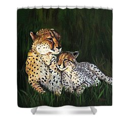 Shower Curtain featuring the painting Cheetahs by LaVonne Hand
