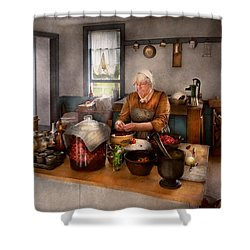 Chef - Kitchen - Cleaning Cherries  Shower Curtain by Mike Savad