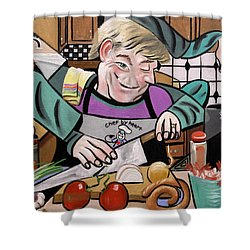 Chef With Heart Shower Curtain by Anthony Falbo