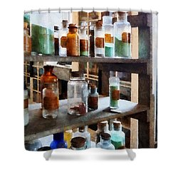 Chemistry - Bottles Of Chemicals Shower Curtain by Susan Savad