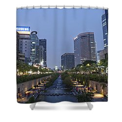Cheonggyecheon Stream In Seoul South Korea Shower Curtain