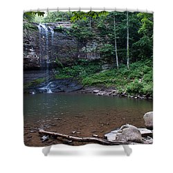 Cherokee Falls Shower Curtain by Rebecca Hiatt