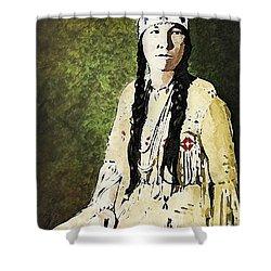 Shower Curtain featuring the digital art Cherokee Woman by Lianne Schneider