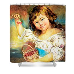 Cherry Basket Girl Shower Curtain