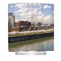 Cherry Blossom Along Portland Oregon Waterfront Panorama Shower Curtain by Jit Lim