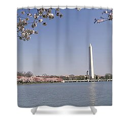 Cherry Blossom With Monument Shower Curtain by Panoramic Images