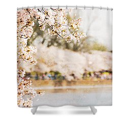 Shower Curtain featuring the photograph Cherry Blossoms In Washington Dc by Vizual Studio