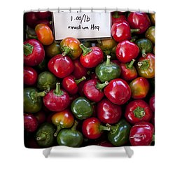 Cherry Peppers Shower Curtain by Janice Rae Pariza