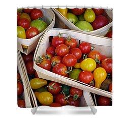 Cherry Tomatos Shower Curtain by Carlos Caetano