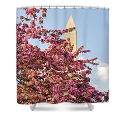 Cherry Trees And Washington Monument One Shower Curtain by Mitchell R Grosky