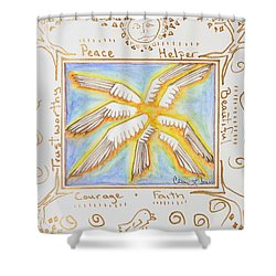Shower Curtain featuring the painting Cherubim by Cassie Sears