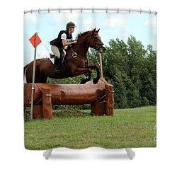 Chestnut Over Log Jump Shower Curtain