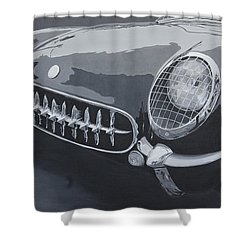 Shower Curtain featuring the painting Chevrolet Corvette 1954 by Anna Ruzsan