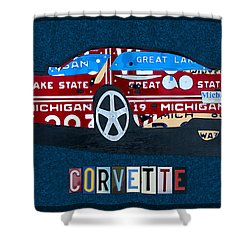 Chevrolet Corvette Recycled Michigan License Plate Art Shower Curtain by Design Turnpike