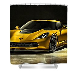 Chevrolet Corvette Z06  Shower Curtain by Movie Poster Prints