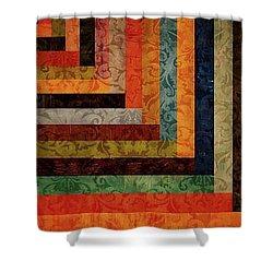 Chevron Brocade Triptych Shower Curtain by Michelle Calkins