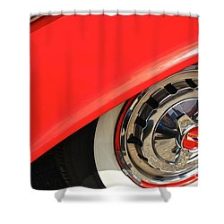 Shower Curtain featuring the photograph 1955 Chevy Rim by Linda Bianic