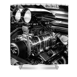 Chevy Supercharger Motor Black And White Shower Curtain