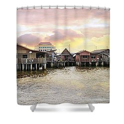 Chew Jetty Heritage Site In Penang Shower Curtain by Jit Lim