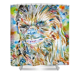 Chewbacca Watercolor Portrait Shower Curtain by Fabrizio Cassetta