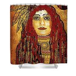 Cheyenne Woman Warrior Shower Curtain by Pepita Selles