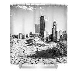 Chicago Beach And Skyline Black And White Photo Shower Curtain by Paul Velgos