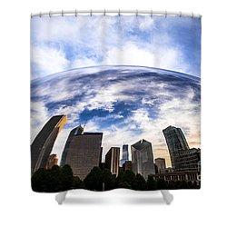 Chicago Bean Cloud Gate Skyline Shower Curtain by Paul Velgos