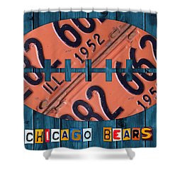 Chicago Bears Football Recycled License Plate Art Shower Curtain by Design Turnpike