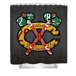 Chicago Blackhawks Hockey Team Retro Logo Vintage Recycled Illinois License Plate Art Shower Curtain by Design Turnpike