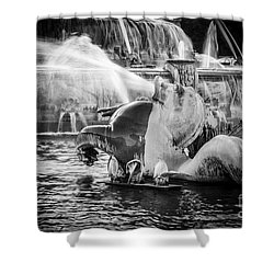 Chicago Buckingham Fountain Seahorse In Black And White Shower Curtain by Paul Velgos