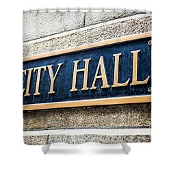 Chicago City Hall Sign Shower Curtain by Paul Velgos