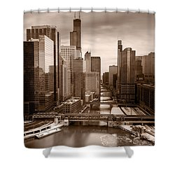 Chicago City View Afternoon B And W Shower Curtain by Steve Gadomski