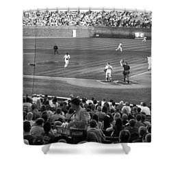 Chicago Cubs On The Defense Shower Curtain by Thomas Woolworth