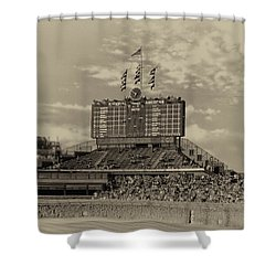 Chicago Cubs Scoreboard In Heirloom Finish Shower Curtain