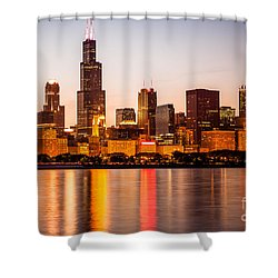 Chicago Downtown City Lakefront With Willis-sears Tower Shower Curtain by Paul Velgos
