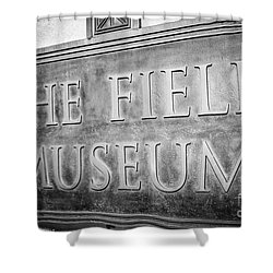Chicago Field Museum Sign In Black And White Shower Curtain by Paul Velgos
