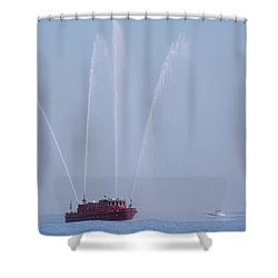 Chicago Fireboat Shower Curtain by Adam Romanowicz
