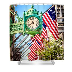 Chicago Great Clock On Macys Building Shower Curtain by Paul Velgos