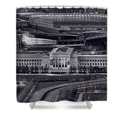 Chicago Icons Bw Shower Curtain by Steve Gadomski