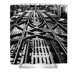 Chicago 'l' Tracks Winter Shower Curtain