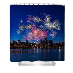 Chicago Lakefront Fireworks Shower Curtain by Steve Gadomski