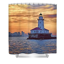 Chicago Lighthouse Impression Shower Curtain by John Hansen