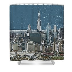 Chicago Looking West In A Snow Storm Digital Art Shower Curtain by Thomas Woolworth